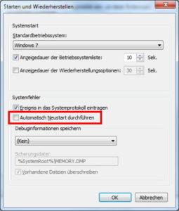 Windows 7 automatischen Neustart abschalten