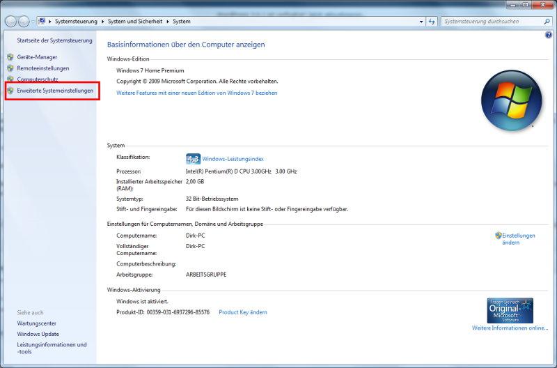 Windows 7 erweiterte Systemeinstellungen