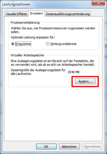 Windows 7 virtueller Arbeitsspeicher