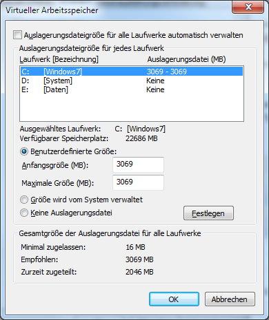 Windows 7 Auslagerungsdatei einstellen