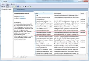 Windows 7 Dienst Heimnetzgruppen-Anbieter