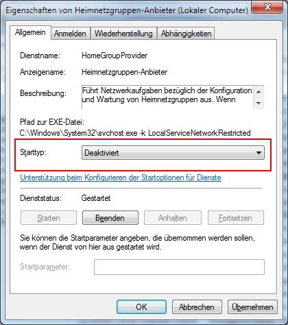 Windows 7 Dienst für das Heimnetzwerk deaktivieren
