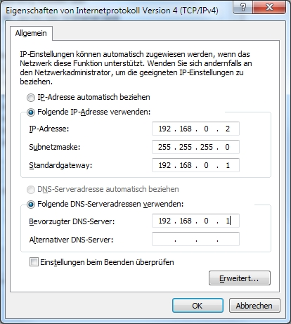 IP-Adresse 192.168.0.1