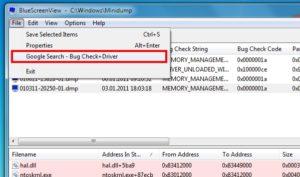 BlueScreenView Google Search - Bug Check+Driver