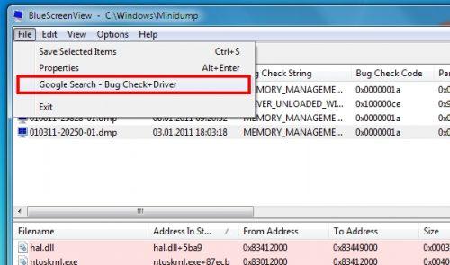 BlueScreenView - Bluescreen leicht analysieren und verstehen