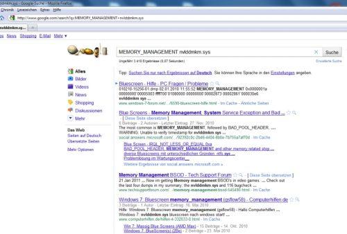 BlueScreenView Google-Suche nach Fehlermeldung und Treiber