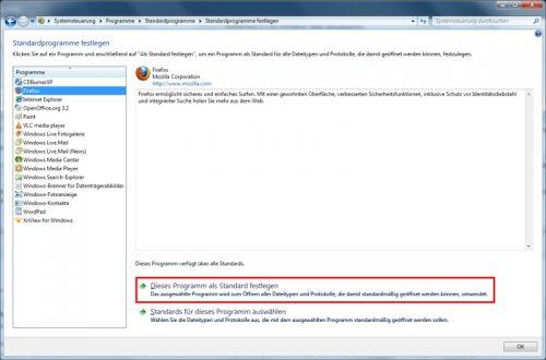 Firefox als Standard-Browser festlegen