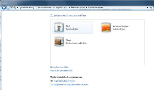 Windows 7 Administratorkonto aktiviert
