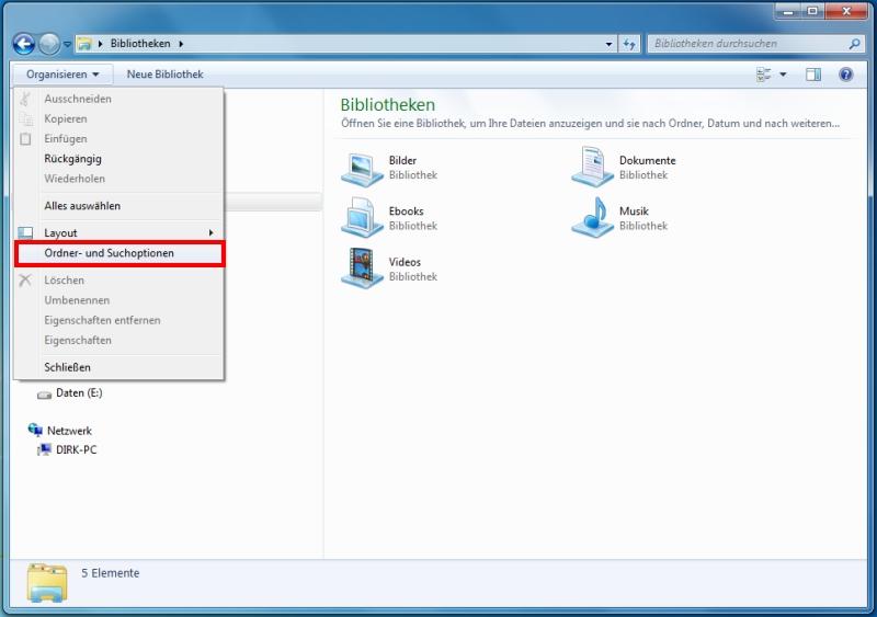 Windows 7 Dateiendung anzeigen lassen