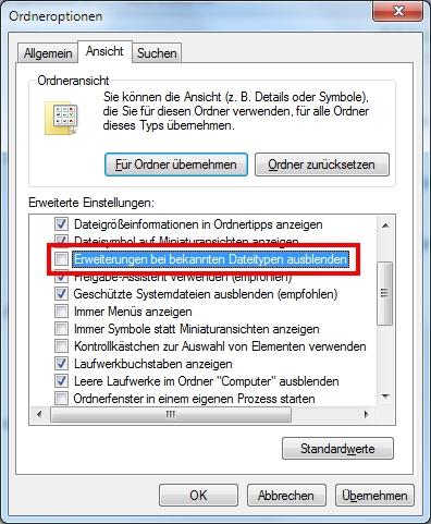 Windows 7 Dateierweiterung anzeigen