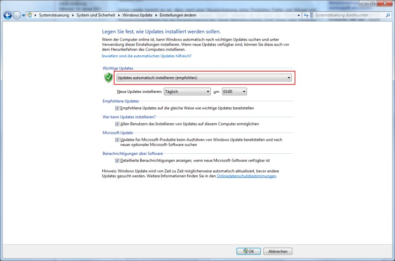 updates herunterladen aber installation manuell durchführen