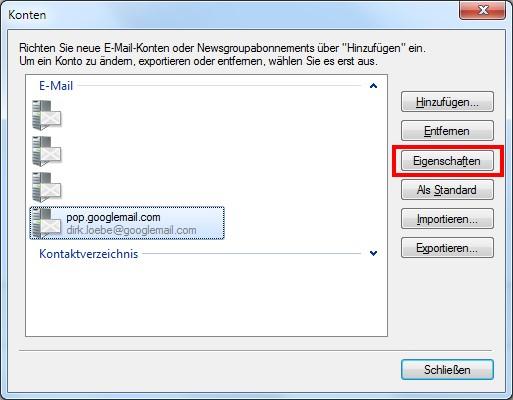 Windows Live Mail Email-Konten