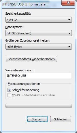 Externe Festplatte oder USB-Stick formatieren