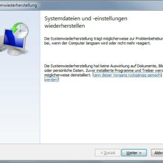 Windows 7 Systemwiederherstellung: Betroffene Programme anzeigen
