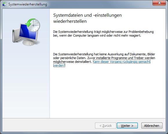 Systemwiederherstellung Windows 7