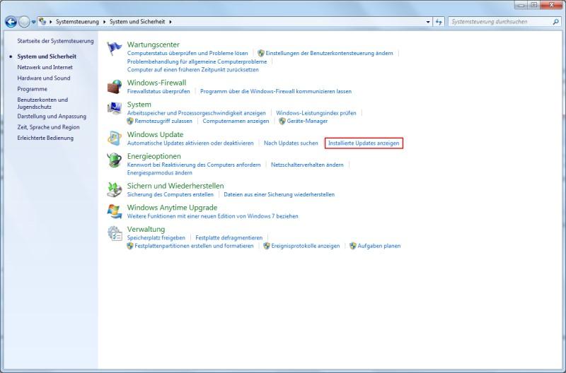 Windows 7 System und Sicherheit