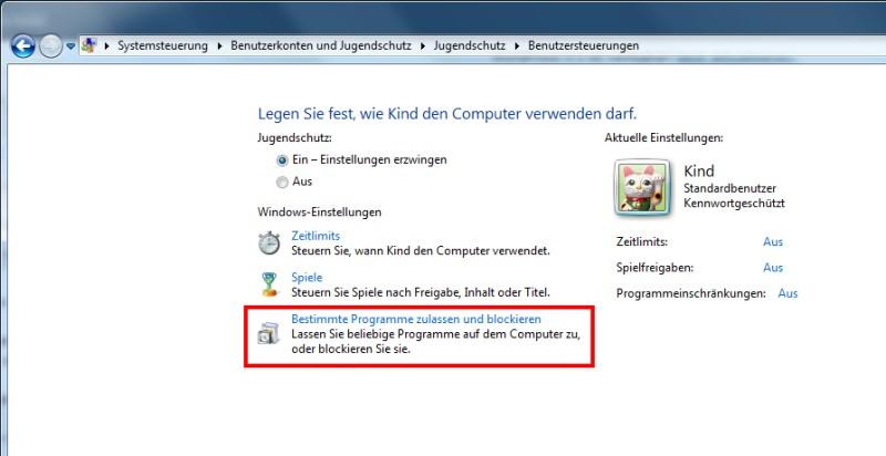 Windows 7 Einstellungen Jugendschutz