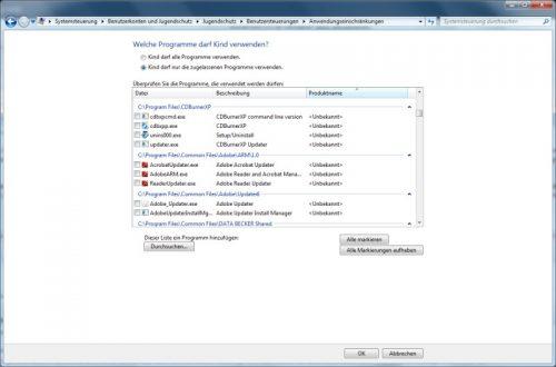 Windows 7 bestimmte Programme sperren