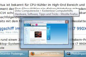 Windows 7: Vorschaubilder der Taskleiste schneller anzeigen