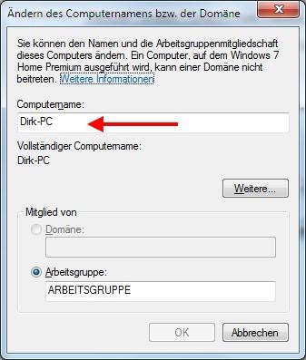 Fenster Computername ändern