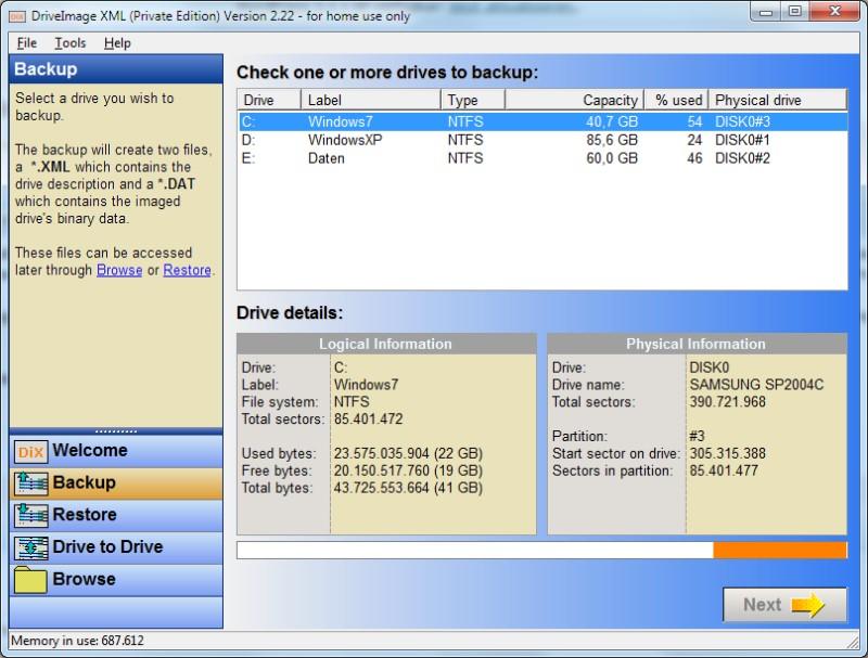 Festplatte spiegeln mit DriveImage XML