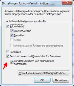 Internet Explorer: AutoVervollständigen für Benutzername und Passwort deaktivieren