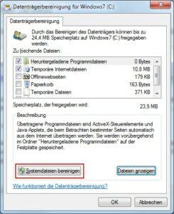 Windows 7 Datenträgerbereinigung Systemdateien