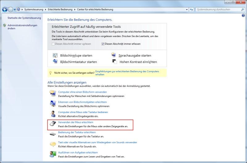 Windows 7 Center für erleichterte Bedienung