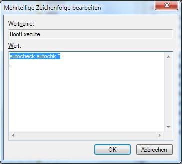 BootExecute Automatische Datenträger Konsistenzprüfung (CHKDSK) deaktivieren