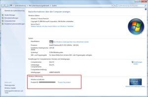 Windows 7 Seriennummer anzeigen und ändern