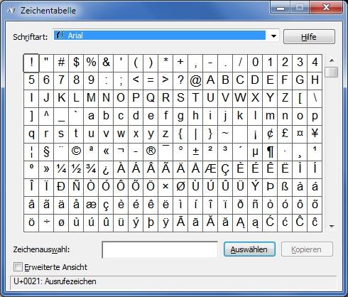 Ascii-Codes Zeichentabelle
