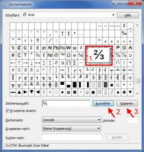 Ascii-Codes Zeichentabelle erweiterte Ansicht