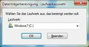 Datenträgerbereinigung Windows 7