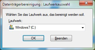 Datenträgerbereinigung Windows 7