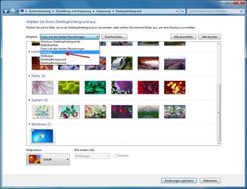 Hintergrundbilder nach Kategorien sortiert