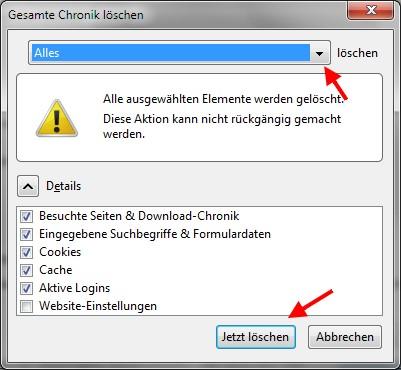 temporäre Dateien im Firefox löschen