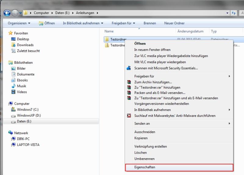 Windows 7 Datei freigeben