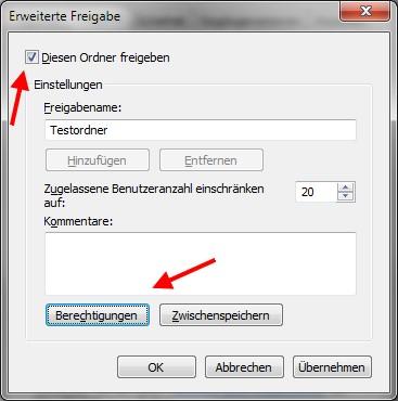 Windows 7 Datei erweiterte Freigabe
