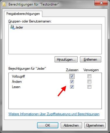 Dateifreigabe Berechtigungen