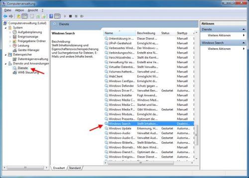 Windows Suche bzw. Indexdienst deaktivieren