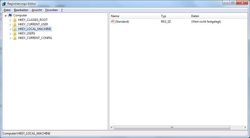 Registrierungs-Editor Windows 7