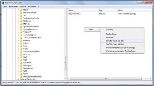 Registry Schlüssel WriteProtect für USB-Stick