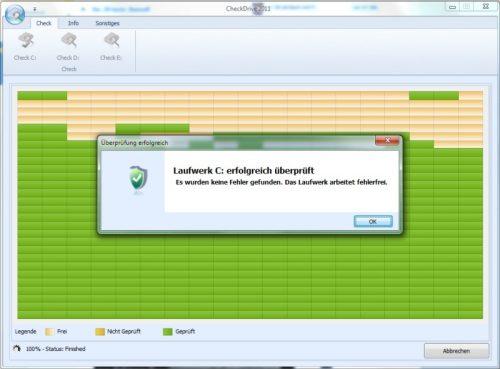 Überprüfung der Festplatte auf Fehler