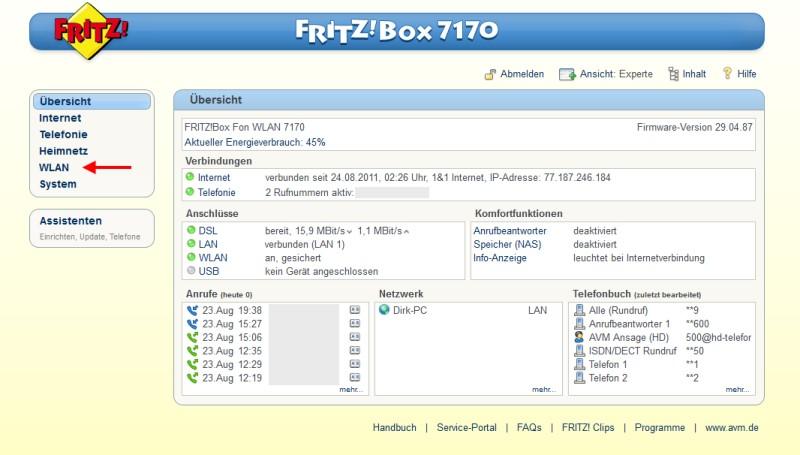 Admin-Oberfläche der Fritzbox