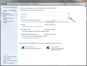 Wartungscenter Windows Fehlerberichterstattung