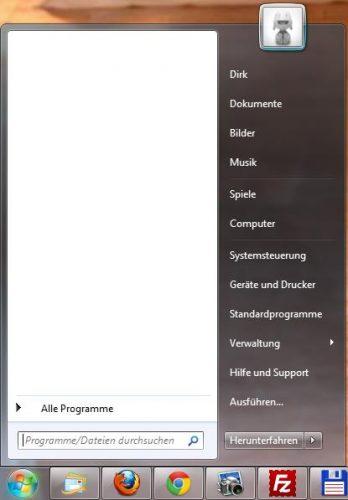 Startmenü mit leerem Verlauf der Programme