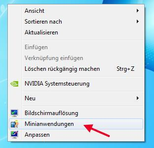 Windows 7 Minianwendungen
