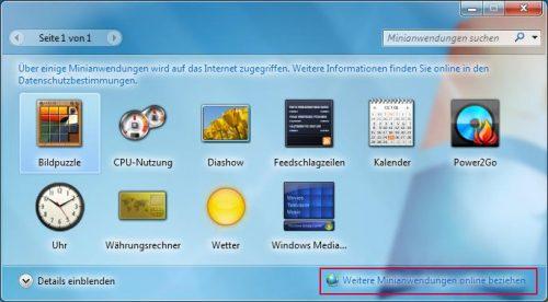 Windows 7 vorinstallierte Minianwendungen