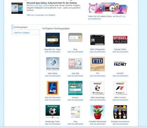 Webseite für Desktop- und SideShow-Gadgets bei Microsoft