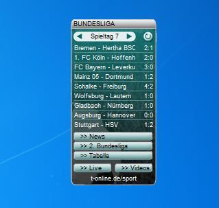 Bundesliga-Ticker Gadget installieren